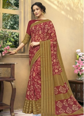 Brown and Crimson Print Work Trendy Saree