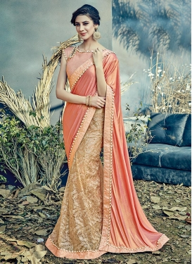 Beige and Salmon Lehenga Style Saree For Festival