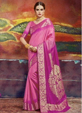 Fuchsia and Hot Pink Thread Work Classic Saree