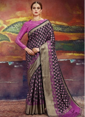 Black and Rose Pink Thread Work Contemporary Style Saree