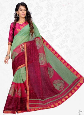 Crimson and Rose Pink Cotton Silk Trendy Saree