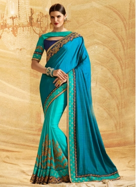Blue and Light Blue Chiffon Satin Designer Half N Half Saree