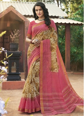 Beige and Salmon Print Work Classic Saree