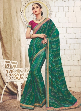 Faux Georgette Bandhej Print Work Contemporary Saree
