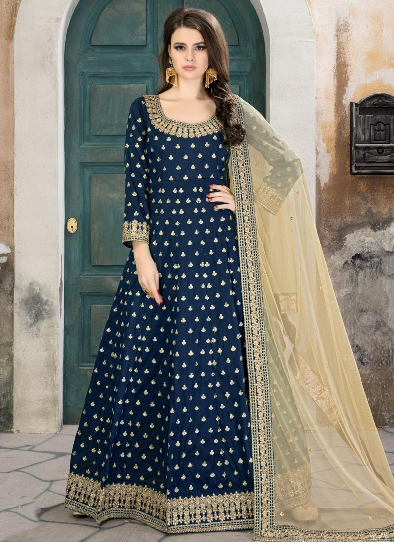 Embroidered Work Tafeta Silk Floor Length Anarkali Suit