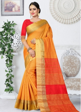 Orange and Red Trendy Classic Saree