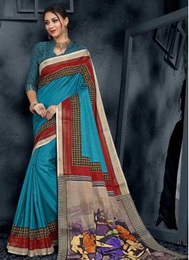 Cotton Silk Digital Print Work Contemporary Style Saree
