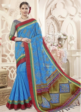 Digital Print Work Art Silk Contemporary Style Saree