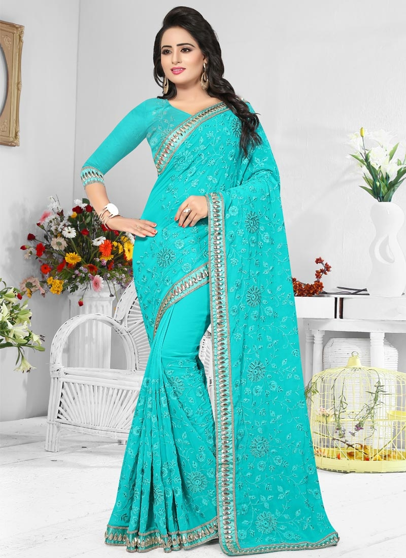 Pure Georgette Embroidered Work Classic Saree