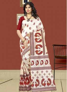 Print Work Maroon and Off White Trendy Saree