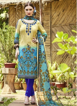 Blue and Cream Pant Style Straight Suit For Casual
