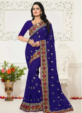 Embroidered Work Faux Georgette Trendy Saree