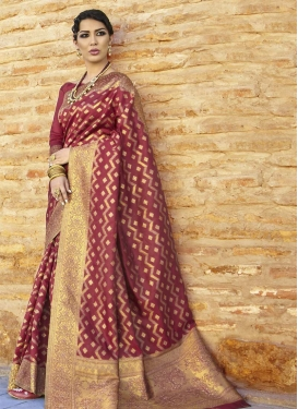 Thread Work Nylon Silk Traditional Saree