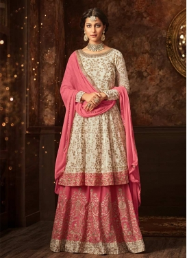 Embroidered Work Off White and Rose Pink Faux Georgette Kameez Style Lehenga Choli