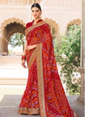Bandhej Print Work Trendy Classic Saree