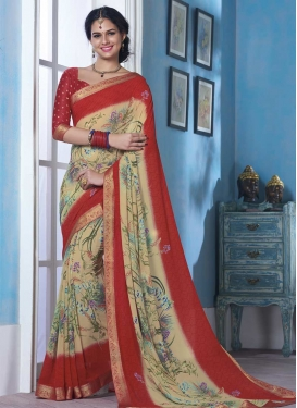 Cream and Red Lace Work Contemporary Style Saree