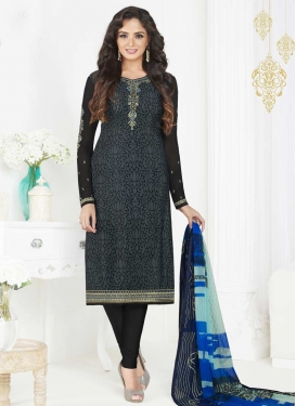 Crepe Silk Embroidered Work Trendy Churidar Salwar Kameez
