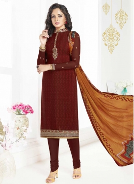 Crepe Silk Embroidered Work Churidar Salwar Kameez