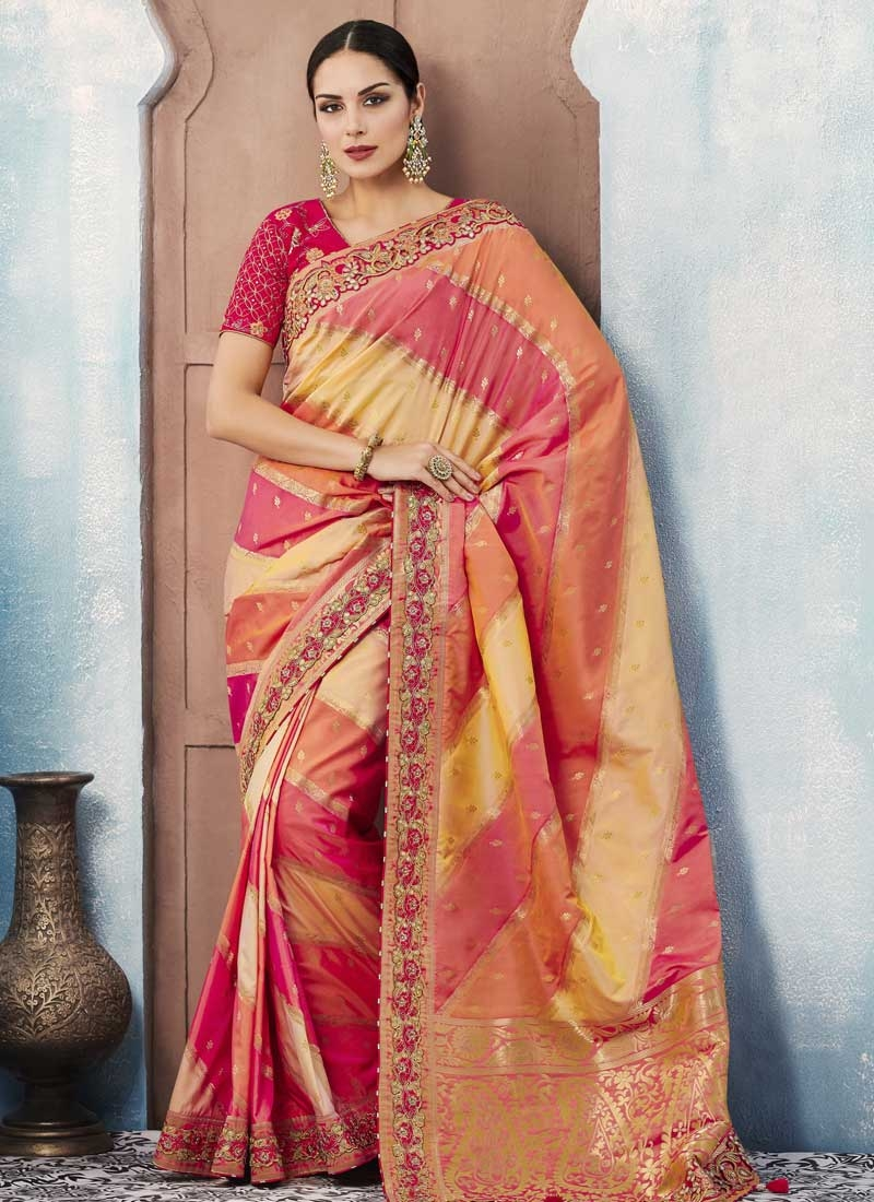 Gold and Rose Pink Lace Work Traditional Saree