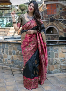 Black and Rose Pink Thread Work Banarasi Silk Trendy Saree