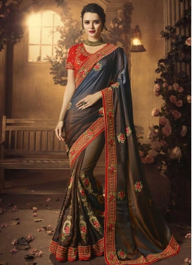 Art Silk Contemporary Style Saree For Festival