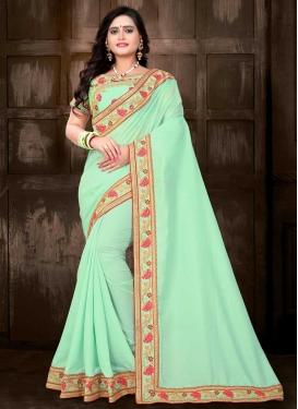 Silk Embroidered Work Trendy Classic Saree