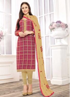 Beige and Crimson Trendy Churidar Salwar Kameez For Ceremonial
