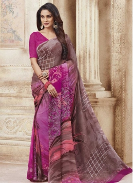 Faux Georgette Brown and Fuchsia Classic Saree
