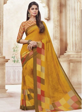 Digital Print Work Faux Georgette Trendy Saree For Casual