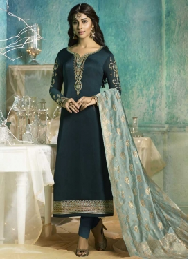 Satin Georgette Pant Style Pakistani Suit