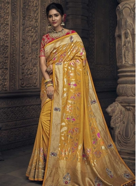 Beads Work Traditional Saree