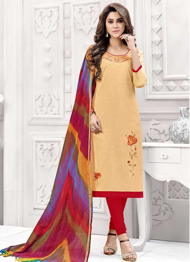 Beige and Red Embroidered Work Churidar Salwar Suit
