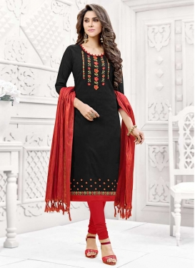 Cotton Silk Black and Red Embroidered Work Churidar Suit