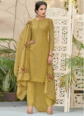 Embroidered Work Pant Style Classic Suit For Festival