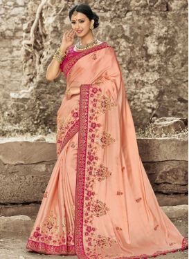 Beads Work Peach and Rose Pink Classic Saree