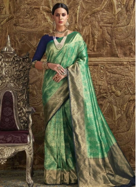 Green and Navy Blue Jacquard Silk Traditional Saree For Ceremonial