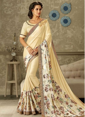 Lycra Lace Work Traditional Saree