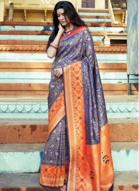 Jacquard Silk Navy Blue and Orange Classic Saree