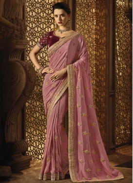 Embroidered Work Art Silk Trendy Saree For Ceremonial