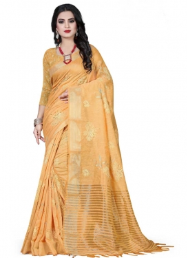 Print Work Linen Contemporary Style Saree For Ceremonial