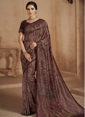Digital Print Work Crepe Silk Designer Traditional Saree