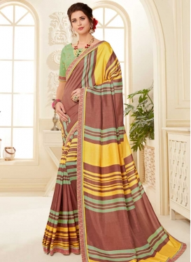 Embroidered Work Art Silk Traditional Designer Saree For Ceremonial