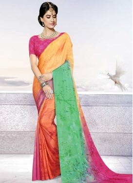 Crepe Silk Digital Print Work Trendy Classic Saree