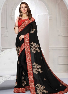 Black and Red Embroidered Work Trendy Classic Saree
