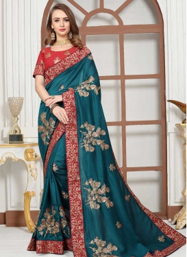 Red and Teal Designer Contemporary Style Saree For Festival