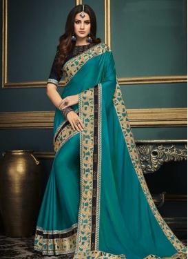 Satin Silk Embroidered Work Classic Saree