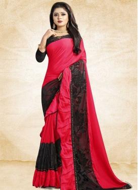 Embroidered Work Satin Silk Classic Designer Saree