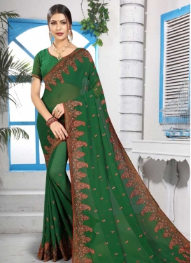 Booti Work Faux Georgette Contemporary Saree