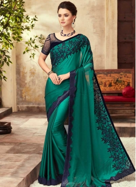 Navy Blue and Sea Green Embroidered Work Contemporary Style Saree