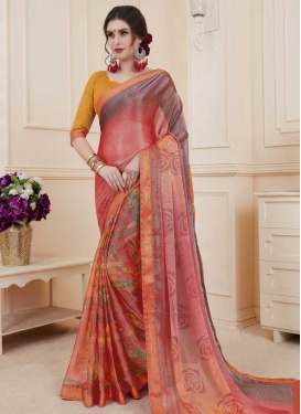 Brasso Georgette Digital Print Work Designer Contemporary Saree
